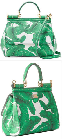 'Sicily' Banana Leaf Printed Leather Bag - DESIGNER INSPIRED FASHIONS