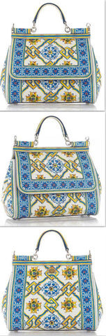 'Majolica' Tile Print Top Handle Bag - DESIGNER INSPIRED FASHIONS