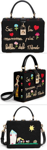 'Most Beautiful Mom in the World' Sequin Embroidery Grosgrain Leather Box Bag, Black - DESIGNER INSPIRED FASHIONS