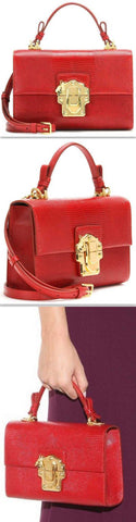 'Lucia' Embossed Leather Shoulder Bag, Red - DESIGNER INSPIRED FASHIONS
