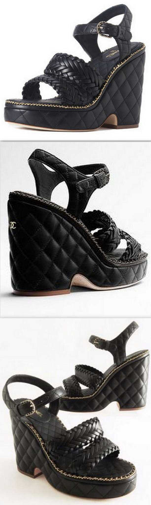 Black Diamond Quilted Leather Platform Sandals - DESIGNER INSPIRED FASHIONS