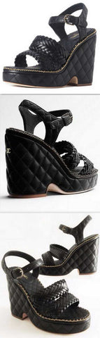 Black Diamond Quilted Leather Platform Sandals | DESIGNER INSPIRED FASHIONS