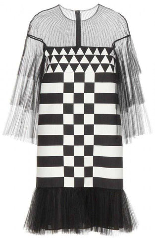 Black Tulle-inset Geometric-print Mini Dress