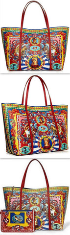 'Miss Escape-Carretto Print' Leather Tote - DESIGNER INSPIRED FASHIONS