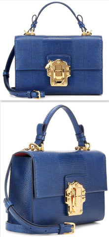 'Lucia' Embossed Leather Shoulder Bag, Blue - DESIGNER INSPIRED FASHIONS