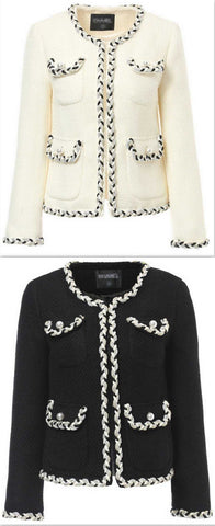 Braided Tweed Jacket in White or Black - DESIGNER INSPIRED FASHIONS