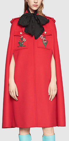 Appliquéd Wool Cape Coat in Red - DESIGNER INSPIRED FASHIONS