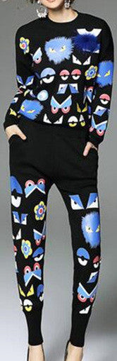'Bag Bugs' Knit Sweater & Pant Set in Black - DESIGNER INSPIRED FASHIONS