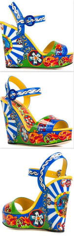 'Carretto Siciliano' Print Wedge Sandals - DESIGNER INSPIRED FASHIONS