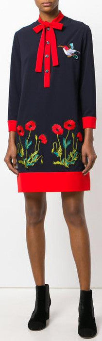 Bird & Floral Embroidered Shift Dress