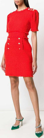 Bouclé Tweed Frayed Dress, Red