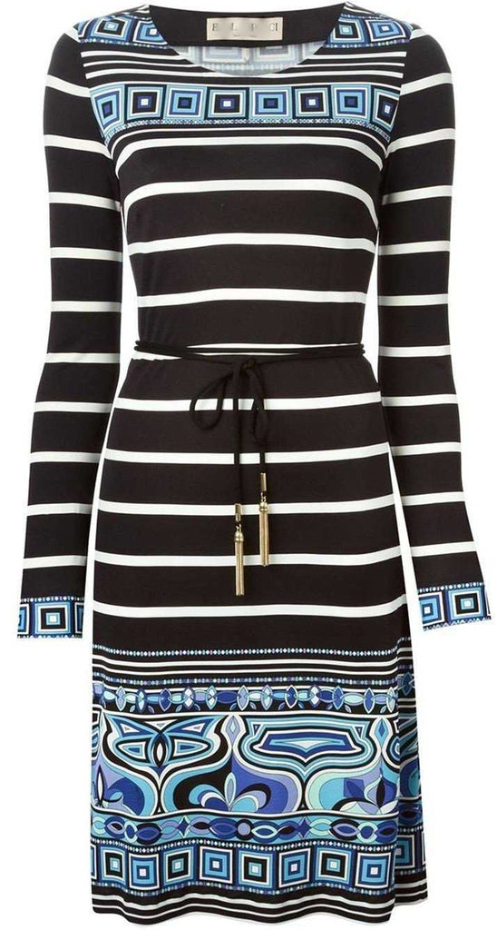 Long-Sleeve Striped Square-Border Dress - DESIGNER INSPIRED FASHIONS