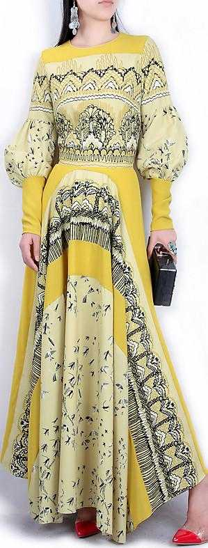 Balloon-Sleeve Printed Gown, Yellow - DESIGNER INSPIRED FASHIONS