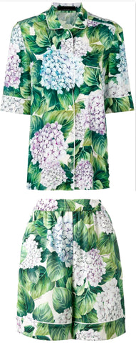 Hydrangea Print Silk Pajama Top & Short Set - DESIGNER INSPIRED FASHIONS