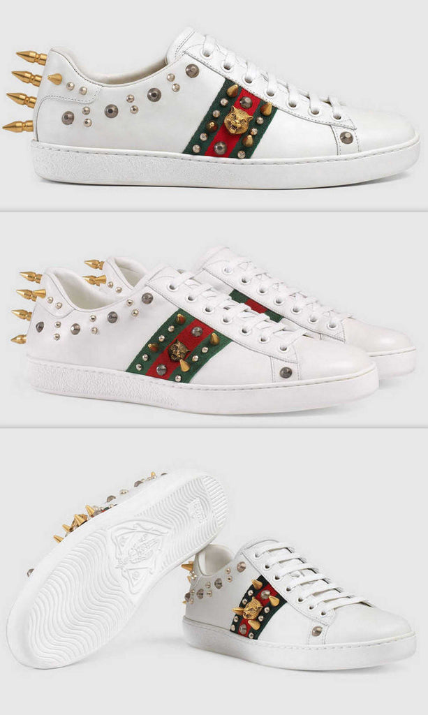 Ace Studded Leather Low Top Sneakers - White