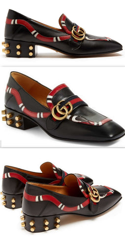 Yoko Snake-Appliqué Leather Loafers