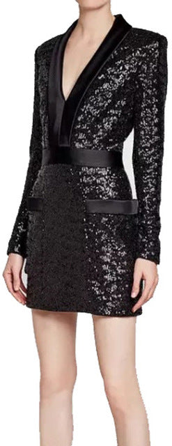Black Satin-Trim Sequin Mini Dress