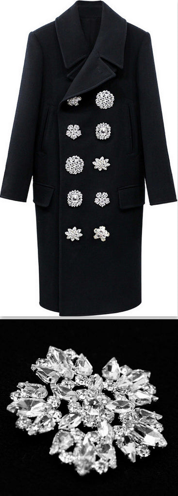 Black Double-Breasted Crystal-Button-Embellished Wool Coat