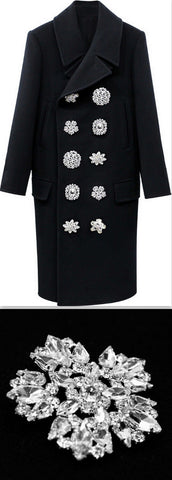 Black Double-Breasted Crystal-Button-Embellished Coat | DESIGNER INSPIRED FASHIONS