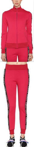 Logo Zip Jersey Sweatshirt and Pant Set, Red