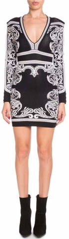 Black and White Baroque Stretch Mini Dress