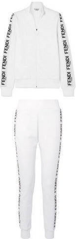 Logo Zip Jersey Sweatshirt and Pant Set, White