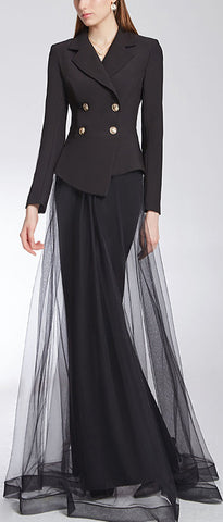 Asymmetrical Double-Breasted Blazer and Long Tulle Overlay Skirt - Black or Red