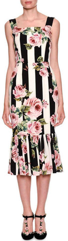 *Extended Sizes* Floral-Striped Brocade Midi Dress