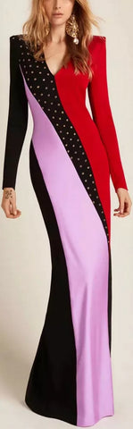 Color-Block Studded Gown
