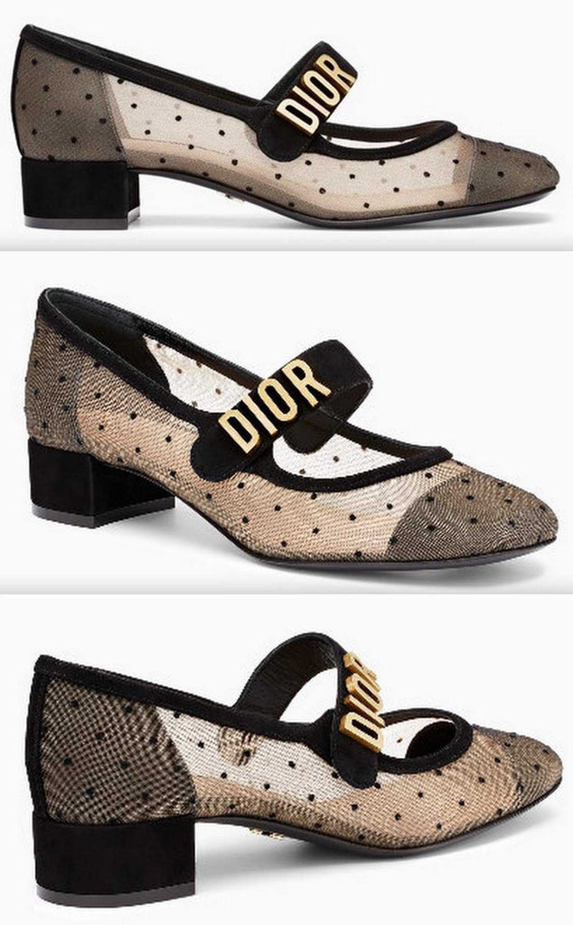 Dior Baby-D Ballet Pump in Black Dotted Swiss