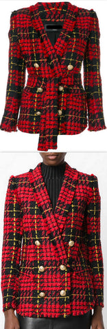 Double-Breasted Plaid Tweed Blazer *Low Stock* | DESIGNER INSPIRED FASHIONS