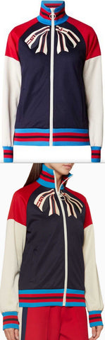 Bow-Appliqué Zip-Through Jersey Track Jacket