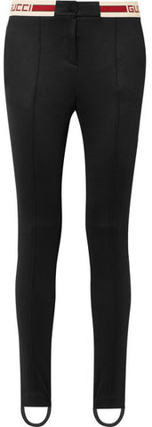 Black Striped Tech-Jersey Stirrup Leggings