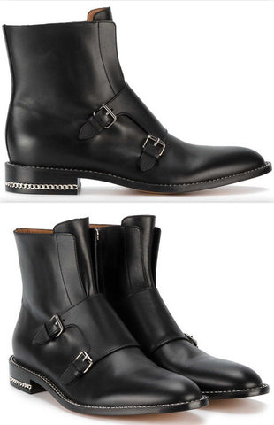Black Monk Strap Leather Ankle Boots