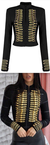 Black Stretch Military Jacket | DESIGNER INSPIRED FASHIONS