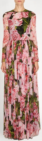 *Extended Sizes* Long Floral-Print Gown