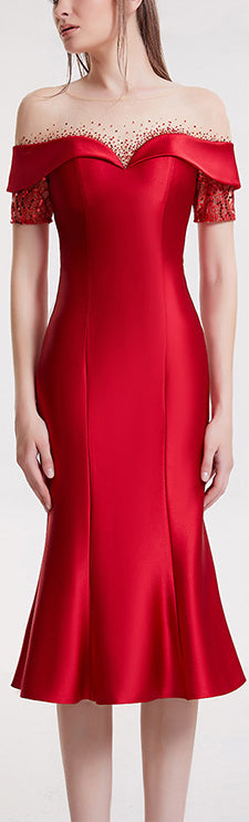 Crystal Sequined Red Fluted Evening Dress