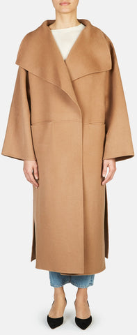 'Annecy' Draped Lapel Coat - Camel