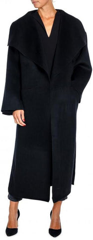 'Annecy' Draped Lapel Coat - Black