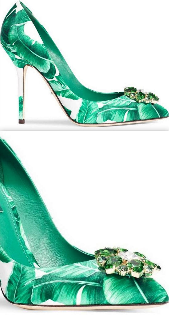 Embellished Banana Leaf Pumps