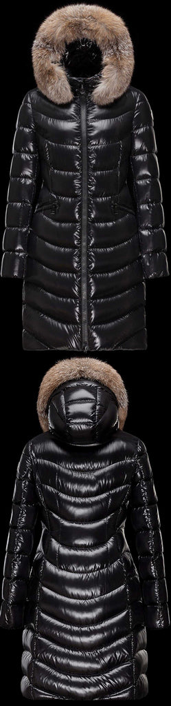Black Paneled Puffer Coat with Fur Hood