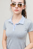 Girls Golf Shirt-Gray & Blue-Shortsleeve-Scout Sports