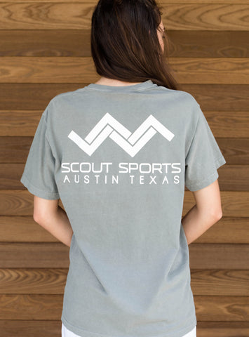Pocket Tshirt-Gray and White-Scout Sports Austin Texas on back