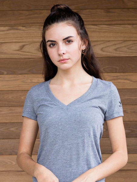 Triblend VNeck-Ladies Tshirt-Heather Gray-Scout Sports