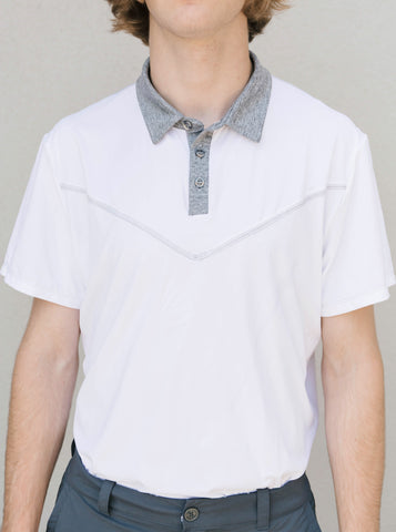 Junior Guys-Essential Golf Shirt-White & Gray-Scout Sports