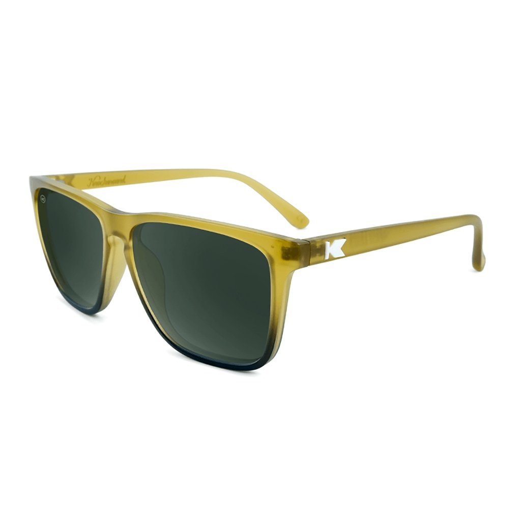 Fast Lanes Sunglasses, Frosted Amber Fade / Green Aviator Polarized - [aka]