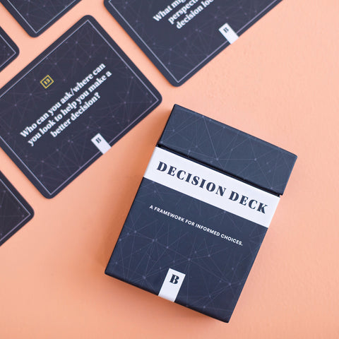 "Decision Deck front view and cards beside it that says ""Who can you ask/where can you look to help you make a better decision?"""