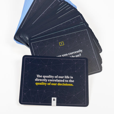 Decision Deck cards fanned out. Text on card says The quality of our life is directly correlated to the quality of our decisions.