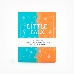 Little Talk Deck front view. A tool for bigger conversations with children.