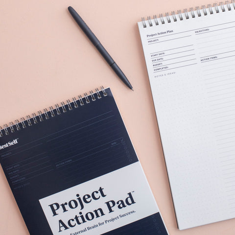 Project Action Pad cover and inner pages with win the day pen